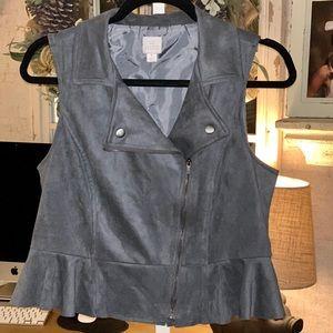LC Lauren Conrad cropped peplum suede blazer vest